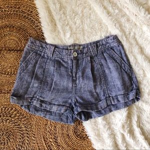 free people blue linen shorts